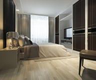 suite moderno de lujo TV de la representación 3d con el guardarropa y paseo en armario fotografía de archivo libre de regalías
