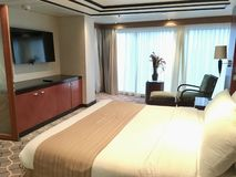 Suite onboard cruise ship. The Royal Suite, the most luxurious stateroom onboard Royal Caribbean International cruise ship Mariner of the Seas stock images