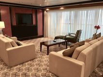 Suite onboard cruise ship. The Royal Suite, the most luxurious stateroom onboard Royal Caribbean International cruise ship Mariner of the Seas royalty free stock images