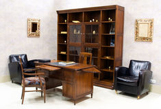 Suite of premium office furniture. Suite of premium wooden office furniture stock photography