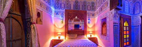 Suite room in a beautiful and traditional riad hotel. Royalty Free Stock Photo