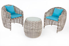 Suite Of Wicker Furniture royalty free stock photos