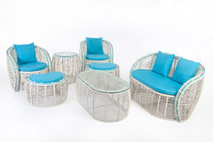 Suite Of Wicker Furniture. Made of synthetic fibre on isolated background stock photography