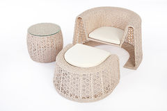 Suite Of Wicker Furniture Stock Photo