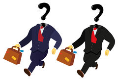 Globe Trotting Business Man. A suited business man walking on the globe holding a briefcase. His head has been replaced by a question mark Royalty Free Stock Photos