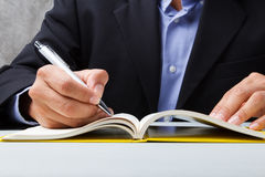 Suited man writing dairy Royalty Free Stock Image