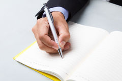 Suited man writing dairy Royalty Free Stock Photo