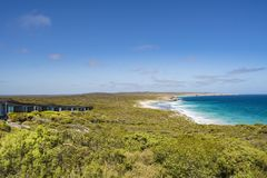 Suites of Southern Ocean Lodge, view to beach, Kangaroo Island, Australia stock image