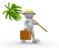 Suitfcase and palm- tree Stock Photo