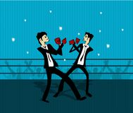 Suits Fighting. Illustration of two business men in suits fighting it out in a ring with a crowd in the background Royalty Free Stock Photography