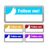 Suivez-moi bouton Photos libres de droits