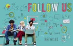 Suivez-nous le réseau que social relient le concept social de media Photos stock