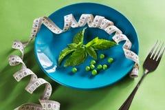 Suivez un régime le plat bleu de centimètre, de fourchette et de basilic Image libre de droits