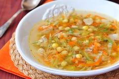 Suivez un régime le potage au poulet, le chou, les carottes et les pois chiches Images libres de droits