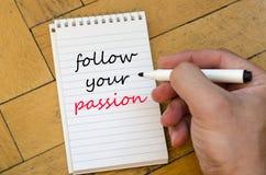 Suivez votre concept des textes de passion sur le carnet Image libre de droits