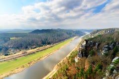 Suiza sajona La opinión sobre el río Elba Imágenes de archivo libres de regalías