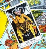 A sujeição do cartão de tarô do diabo, tentação, escravização, materialismo, apegos fotos de stock
