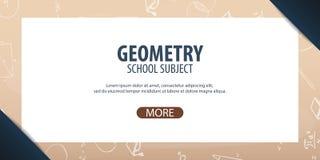 Sujet de la géométrie De nouveau au fond d'école (EPS+JPG) Bannière d'éducation Images stock