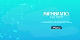 Sujet de mathématiques De nouveau au fond d'école (EPS+JPG) Bannière d'éducation Photographie stock libre de droits
