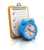 Sujetapapeles con el reloj Fotografía de archivo libre de regalías