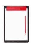 Sujetapapeles con un lápiz rojo Imagen de archivo libre de regalías