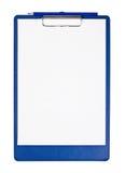 Sujetapapeles en blanco con penci azul Fotografía de archivo