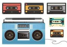Sujetar con cinta adhesiva-registrador y cassettes retros Imagenes de archivo
