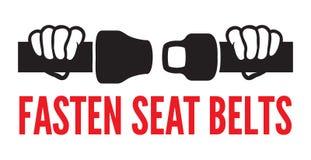 Sujete su icono de los cinturones de seguridad Imágenes de archivo libres de regalías