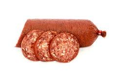 Sujuk sausage on white background Royalty Free Stock Photos