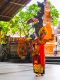 Sukawati,巴厘岛,印度尼西亚- 2008年12月28日:宗教Barong舞蹈 免版税库存照片