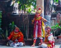 Sukawati,巴厘岛,印度尼西亚- 2008年12月28日:宗教Barong舞蹈 库存照片