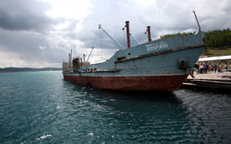Sukbaatar, bateau russe, lac Kovsgol Images stock