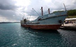 Sukbaatar, russisches Schiff, Kovsgol See Stockbilder