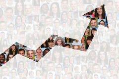 Sukces lub pomyślna wzrostowa strategia w biznesie z ludźmi Zdjęcia Stock