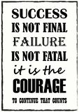 Sukces no Jest Definitywnego niepowodzenia no Jest Śmiertelny Ja Jest odwagi Kontynuować Że obliczenie wyceny zwrot royalty ilustracja