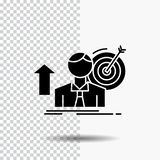 sukces, użytkownik, cel, dokonuje, Wzrostowa glif ikona na Przejrzystym tle Czarna ikona ilustracji