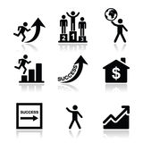 Sukces w biznesie, jaźń rozwoju ikony ustawiać Obraz Royalty Free