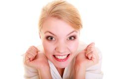 Sukces w pracie Bizneswoman odświętności promocja Zdjęcie Stock