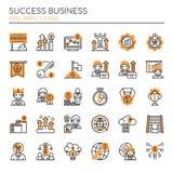 Sukcesu biznes, Cienieje linię i piksel Perfect ikony ilustracja wektor