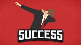 Sukcesu biznesmena odrobina dabbing wyrażeniowego płaskiego rocznika retro w czerwonym tła lanscape royalty ilustracja