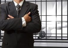 Sukcesu biznesowego mężczyzna czekanie dla lota Zdjęcia Stock