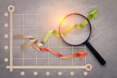 Sukcesu biznesowego wykresu pojęcie z papieru cięcia magifyin i stylem obrazy stock
