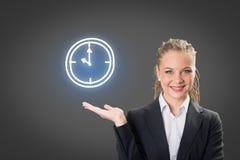 Sukcesu bizneswomanu seansu biznesu mapa i ikona Obraz Stock