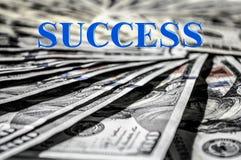Sukcesu słowo i USD pieniądze waluty tło zdjęcia stock