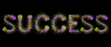 Sukcesu teksta kolorowi fajerwerki - motywacyjny pojęcie Zdjęcie Stock