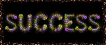 Sukcesu teksta kolorowi fajerwerki - motywacyjny pojęcie Obraz Royalty Free