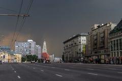 Sukharevskaya fyrkant i Moskva Arkivbild