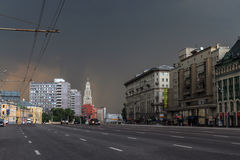 Sukharevskaya Square in Moscow. Sukharevskaya Square before storm in Moscow Stock Photography