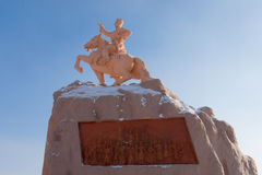 Sukhbaatar statue. Wide angle view of the Sukhbaatar statue in the square of the same name royalty free stock image