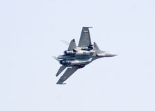 Sukhoi-30 MK I fighter aircraft at Aero India Show 2013. Stock Photos